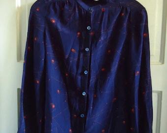 Vintage 80s NORDSTROM Collectors Shop Silk Print Blouse sz S
