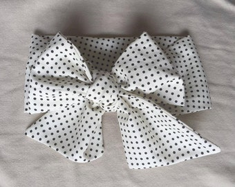 Black and White Dots Wrap : headwrap; fabric head wrap; polka dot head wrap