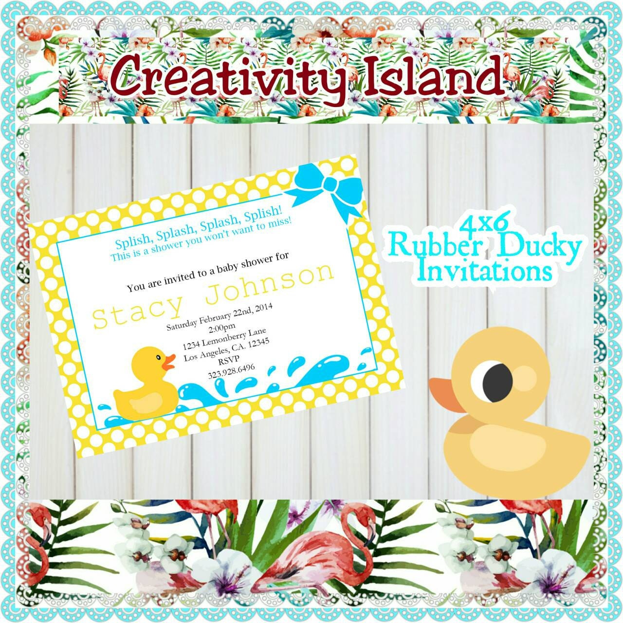 rubber ducky baby shower invitations 4x6 walgreens picture