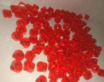 10 grams - 8x8 red twin cone beads