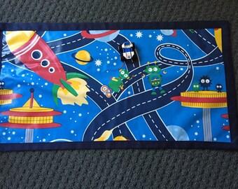 Space Play Mat, Kids Play Mat, Foldup Play Mat, Travel Toy, Car Playmat