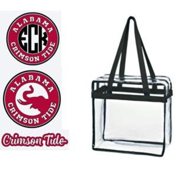 Alabama Crimson Tide Custom Monogram/ Personalized Game Day Clear Tote Bag with Zipper Closure