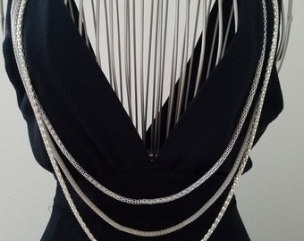 True 1970's Vintage! Silver Metal Triple / Multi-Strand Longline Tube Necklace with Clasp Closure