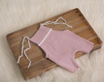 Pale Pink RTS-Newborn overall prop with white detailiing