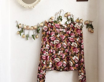 Bright, silk, floral blouse