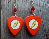 The Flash Emblem Guitar Pick Earrings with Red Crystals