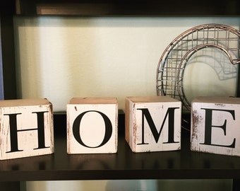 Rustic Home block set | Wood Home Decor | Home Decor | Wood Block Sign | Wood Blocks | 4 Block Set