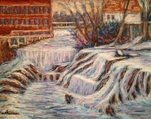 Frozen Chamberlain Falls in Winter, Cheshire County, NH by Gretchen Stuhldreier, Pastel on paper, 2014