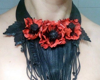 Necklace red and black, Leather Jewelry, Flower Brooch, Leather Brooch, Leather Poppy, Leather Flower, Brooch, Brooches,poppy