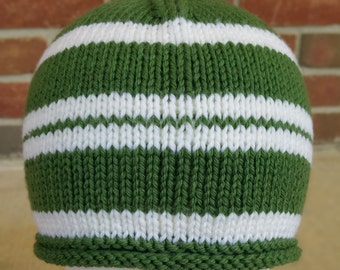 Green & White Rolled Brim Hat