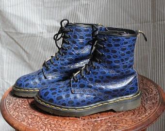 Vintage Doc Marten Blue Leather Boot animal emboss size UK 4 / US 6