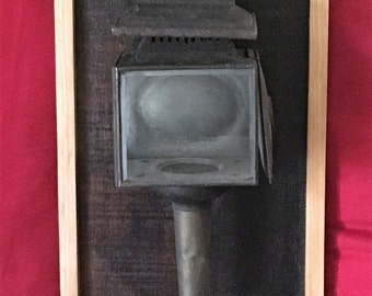 Antique Carriage Light Mounted and Framed