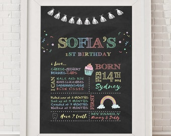 First Birthday Poster - Milestone Board Poster, Chalkboard Birthday Sign, Rainbow, Colourful Milestone poster, Customised, Printable