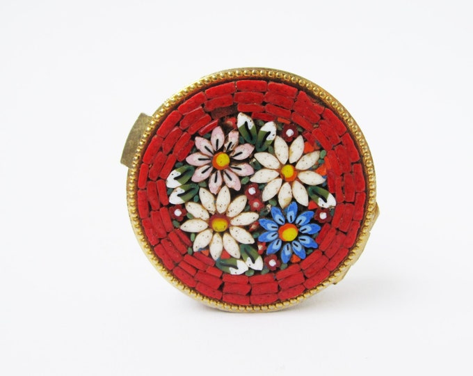Vintage micromosaic pill box, Italian ring box, trinket box, snuff box. Red border with blue-white-pink flowers mosaic metal box