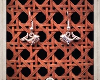 WHALES Silver earrings small whales nautical steampunk BOA022