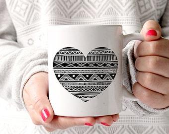 Tribal Aztec Heart Mug, Native American Gift, Aztec Print Mug, Boho Mug, Gift for her, Black and White Mug, Gift for a Friend, Bohemian Mug