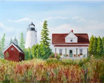 Dyce's Head lighthouse painting original watercolor seascape Maine art nautical coastal island art 11x15