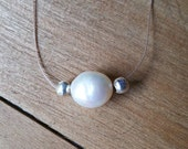 Floating Pearl Necklace - Fresh Water Pearl, Barely There Necklace, Dainty Necklace, Simple Necklace, Floating Gemstone Necklace
