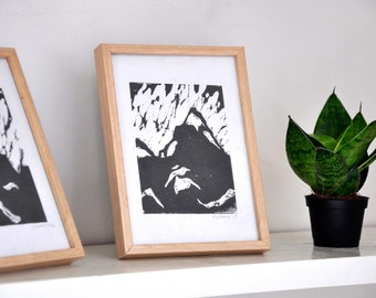 Duo Mountains. Two linocuts themed mountain printed by hand