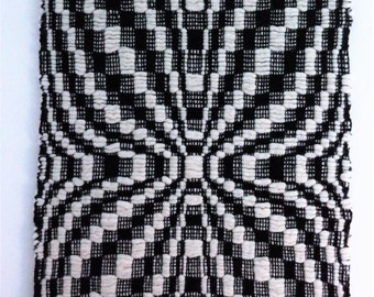 black and white handwoven traditional patterned wall hanging, 100% wool