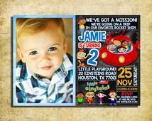 Little Einsteins Birthday Invitation - Little Einsteins Chalkboard Birthday Party Invite With Photo For Boy- Printable And Digital File