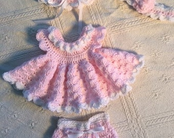Pink and White Newborn -2 mth. Dress Set