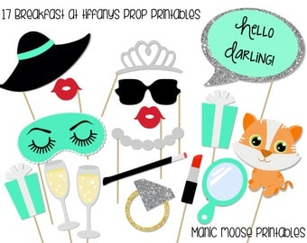 Printable Breakfast at Tiffany's Photo Booth Props ~ Tiffany Party Props ~ Bridal Showers, Baby Showers, Birthdays