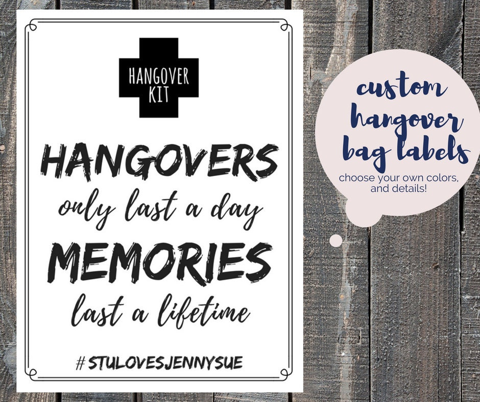 This is a graphic of Légend Hen Party Hangover Kit Labels
