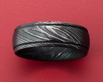 7MM Beautifully Etched Damascus Steel Wedding Band with High Contrast Finish - Two Groove Design
