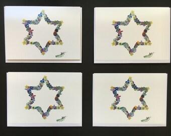 "Set of 4  Cards - Large ""Jewish Star"" Card Prints"