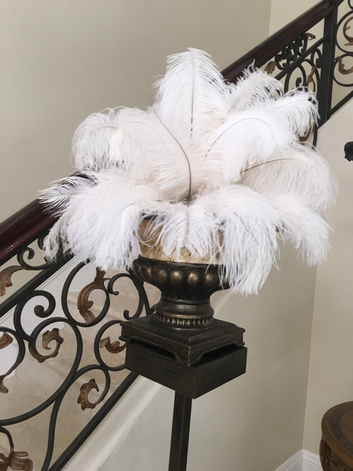 Pcs white ostrich feathers quot wedding table
