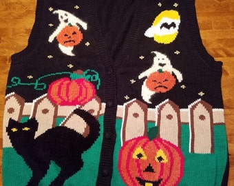 Vintage Halloween CAT and Jack O' Lantern Vest! 90's Ghost and Ghoul Sweater with PUMPKINS