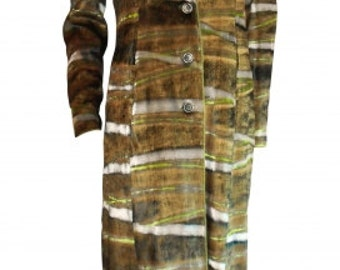 Hervé Léger : khaki striped velvet coat, vintage 90's