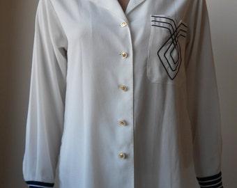 Louis Féraud : white silk shirt, size M, vintage 70s