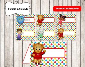 Daniel tigers food labels instant download , Daniel tiger food tent cards, Printable Daniel tiger party food table labels