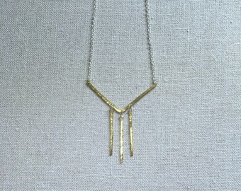 OLIVE and GREEN Chandelier Chevron Hammered Bar Long Geometric Handmade Necklace Hammered Gold-tone Metal Silver Chain Unique Hand made
