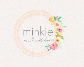 Floral Logo | Minkie | Logo Design, Graphic Design, Custom Logo, Photography Logo, Logo for Small Business, Boutique Logo