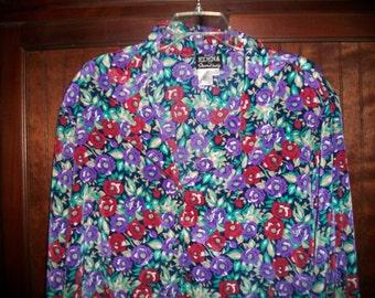 Erena by Irene Koenig Vintage 80s Floral Blouse, Secretary Blouse, Size 22