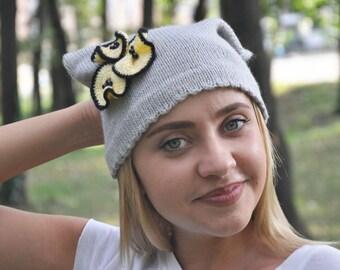 Knit winter hat, womens romantic beanie, yellow flowers cap, gift for girls