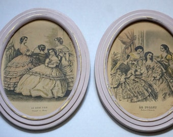 Vintage Blush Pink Framed French Society Scene Prints--Hand Painted Pink--Oval Frames--Pink Oval Frames--Little Girl's Room--Teen's Room