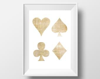 POKER PRINT, Heart, Spade, Diamond, Club, Geometric Print, Minimalist Print, Poster Set, Deck of Cards, Beige Print, Digital Download