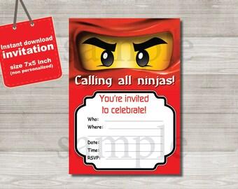 Ninjago Invitation- DIGITAL FILE -  birthday party invitation - Instant Download