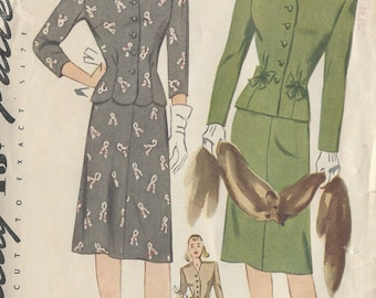 "1943 Vintage Sewing Pattern B32"" DRESS (75) Simplicity 4931"