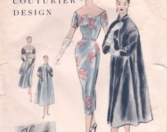1954 Vintage VOGUE Sewing Pattern B34 Dress & Coat (1114) Vogue 829