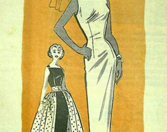 1957 Vintage Sewing Pattern B35 WIGGLE DRESS & OVERSKIRT (R759) By Marian Martin Printed Pattern 9140