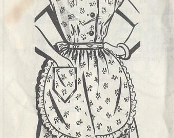 "1950s Vintage Sewing Pattern DRESS & APRON B38"" (R25R)  Sew-Rite 8068"