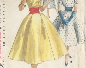 "1956 Vintage Sewing Pattern B29"" DRESS, JACKET & CUMMERBUND (R330) Simplicity 1573"