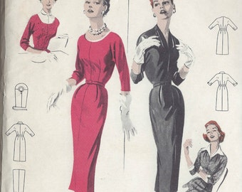 "1950s Vintage Sewing Pattern B34"" DRESS (R176)   Butterick 7505"