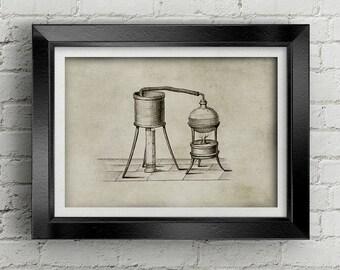 Chemestry Illustration 005 - Alchemy illustration - vintage science print - chemestry poster - black and white drawing - old illustration