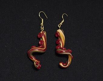 Steampunk Marbled Twisty Tentacle Earrings